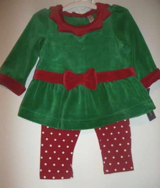 Elf Girls Cherokee Christmas 2 piece Outfit Red / Green -- Sz 6 months -- NWT
