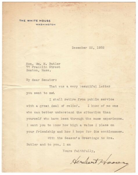 Herbert Hoover - Typed Letter Signed - re His 1932 Loss to Franklin D. Roosevelt