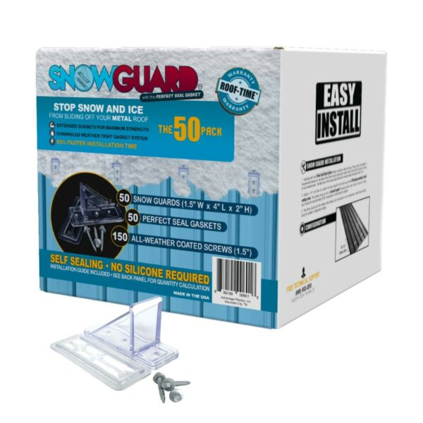 (50) STOP SNOW SLIDING OFF YOUR ROOF MINI SNOW GUARD™ 50 PACK W GASKET