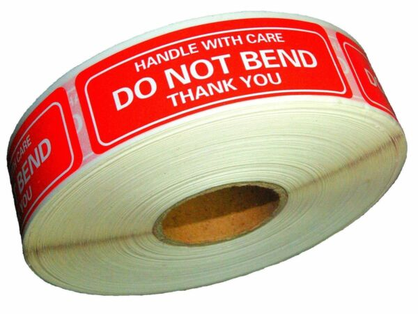 """DO NOT BEND STICKERS HANDLE WITH CARE THANK YOU 1"""" x 3"""" Sticker Premium Quality $2.63"""