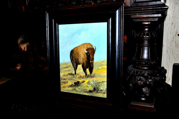 Vintage Original  Buffalo    Painting  By well known Artist