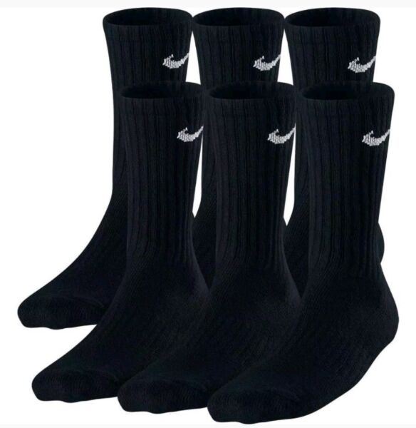 Nike Performance Cotton Cushioned Men#x27;s Crew BLACK Socks 3 or 6 Pairs Size 8 12