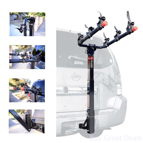 New Allen Sports Deluxe 3 Bike Hitch Mount Rack With 1.25 2 Inch Receiver $151.99