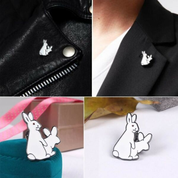 1Pc Lovely Two White Rabbits Evil Badge Corsage Collar Metal Brooch Pins Funny