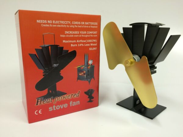 GOLD HEAT POWERED WOOD STOVE FAN - HIGH QUALITY -