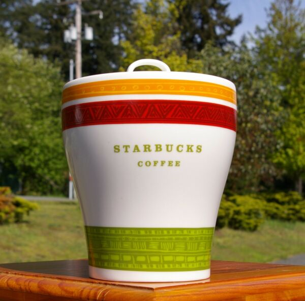 Starbucks Coffee Company Green Red Orange Stripe 2005 Canister Rubber Seal Lid