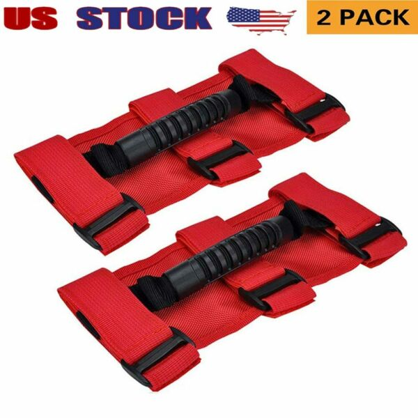 Fit Jeep Wrangler JL Red Roll Grab Handles Handle Bar 4x4WD Off Road Accessories $12.21