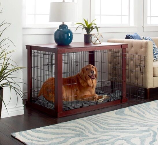 Dog Crate End Table For Large Dogs With Cover Indoor Pet Kennel Cherry Wood Top