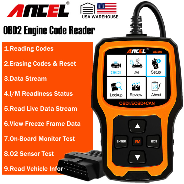 Ancel AD410 OBDII Code Reader Check Engine Light Auto Scanner I/M Readiness Diag