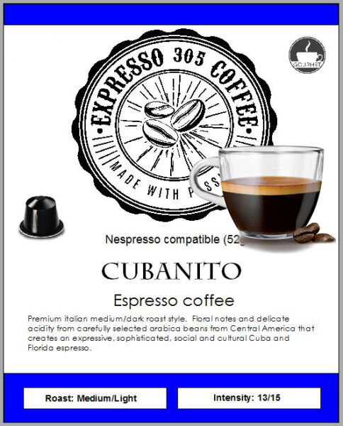 60 Nespresso capsules compatible pods FRESHLY ROASTED gourmet coffee CUBANITO