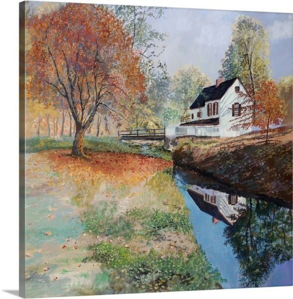 Autumn in the Country Canvas Wall Art Print Countryside Home Decor