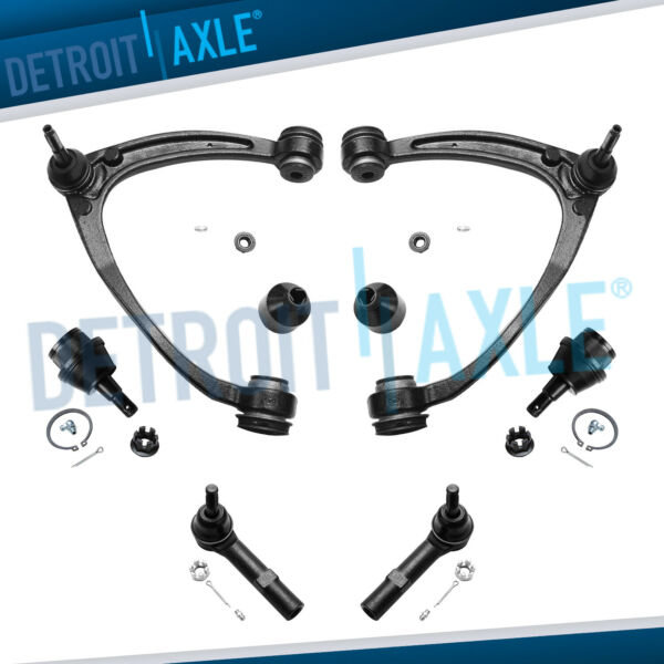 2 Upper Control Arm wBall Joint Kit + Lower Ball Joints & Outer Tie Rod Set