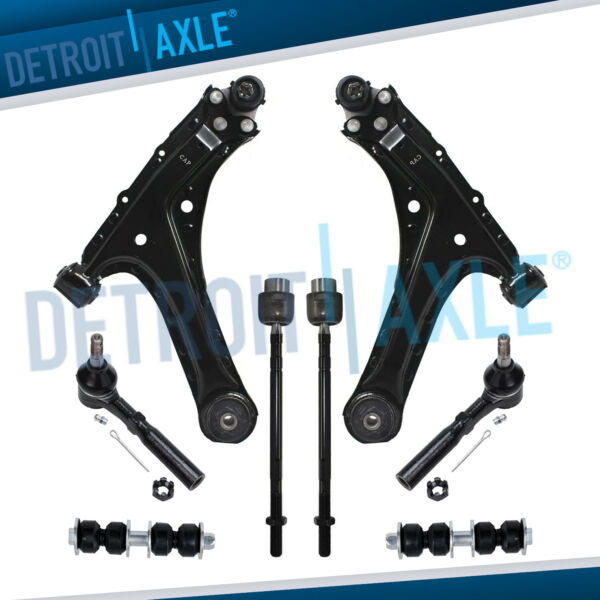 95-05 Cavalier Sunfire 8pc Front Lower Control Arm Ball Joint Tie Rod Kit