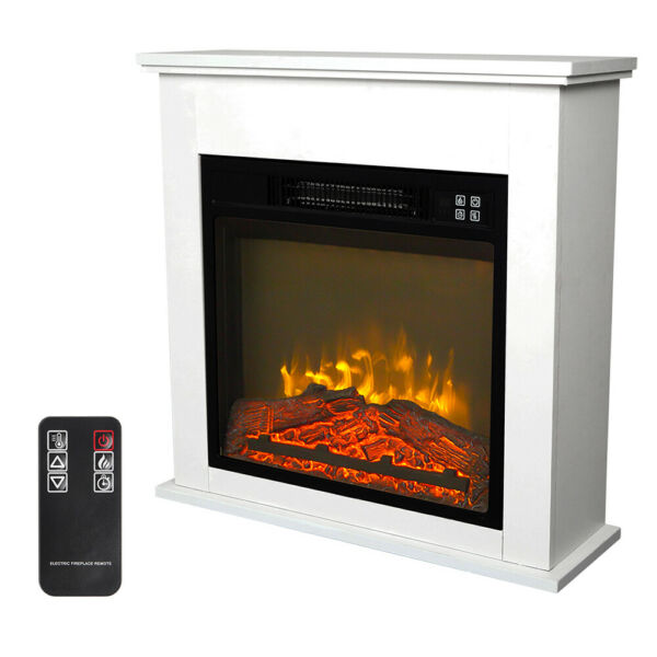 18'' 1400W Electric Fireplace Free Standing Heater with Remote Control Movement