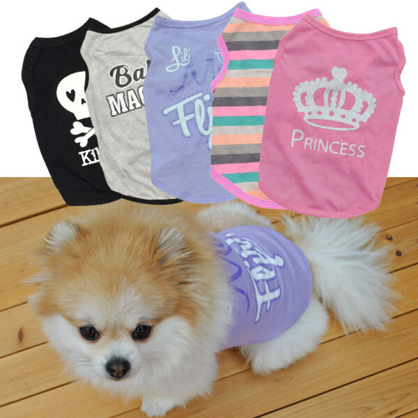US Small Dog Cat Summer Shirts Vest Clothes Puppy T-Shirt Coat Pet Apparel XS-L