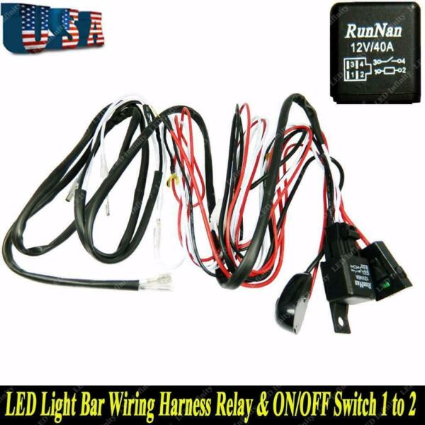 Universal LED Light Bar Wiring Harness Kit 12V 40AMP Relay ON OFF Switch Cable
