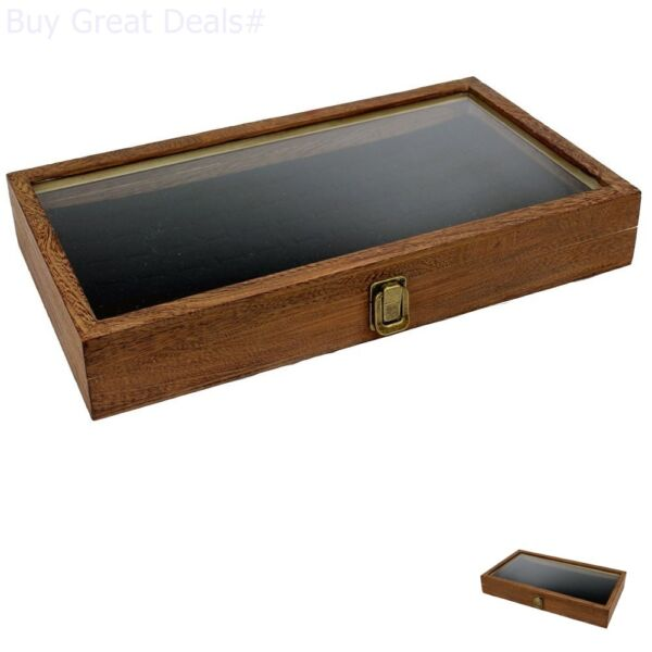 Brown Wood Glass Top Lid Black Pad Display Box Case Medals Awards Jewelry New $24.99