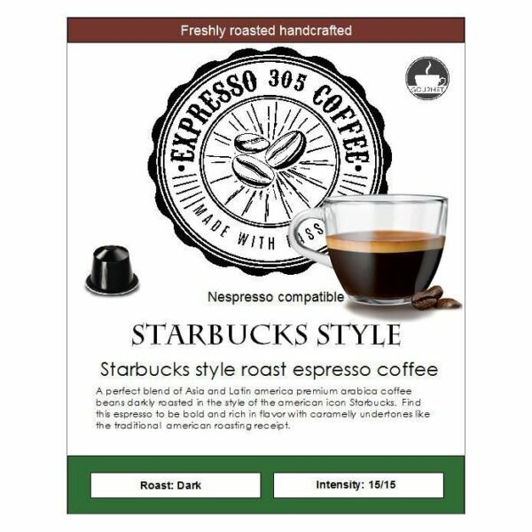Starbucks Style Nespresso capsules pods compatible FRESHLY ROASTED strong coffee