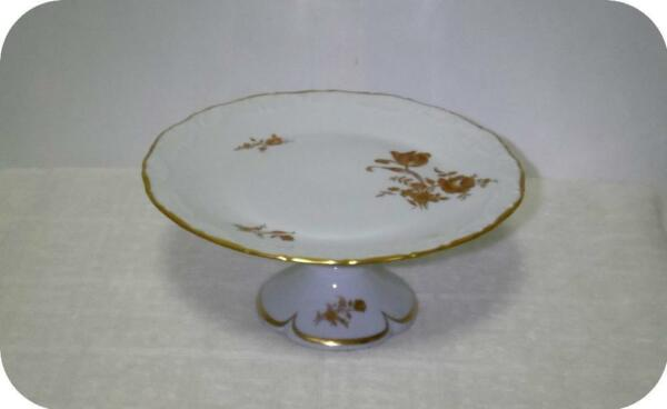 Antique Vtg Limoges France Footed Cake Tart Dessert Tray Plate Teal w Gold Roses