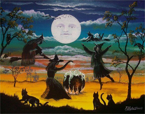 Folk Art HALLOWEEN Witches Casting Spells PRINT Moon with Face Black Cats