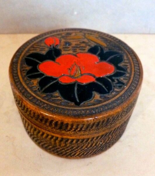 Odd Vintage Rustic Wood and Lacquer Treen Box Japan Circa 1920-1930's