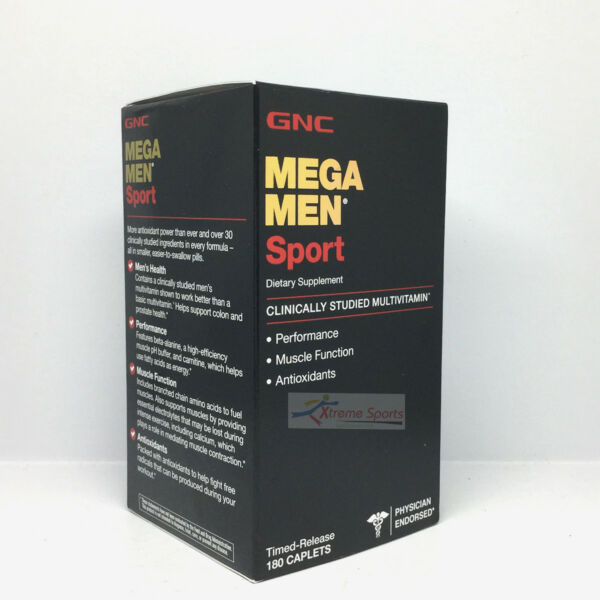 GNC Mega Men Sport 180 Caplets Clinically Studied Multivitamin Free Shipping