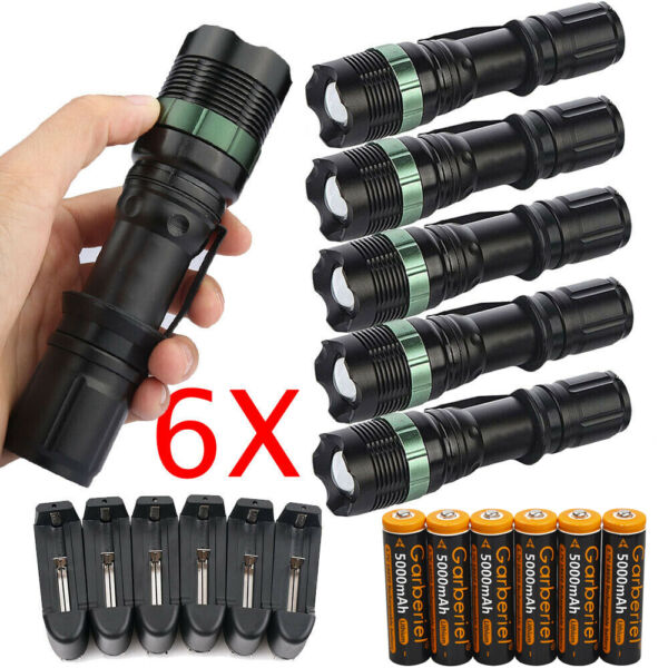 Ultrafire Tactical 15000LM T6 LED Zoomable Flashlight + 18650&Charger&Holder USA