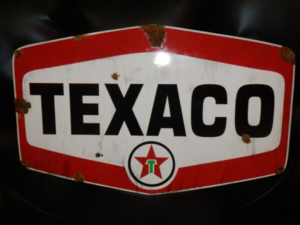 Antique style porcelain look Texaco Star dealer service gas station large sign