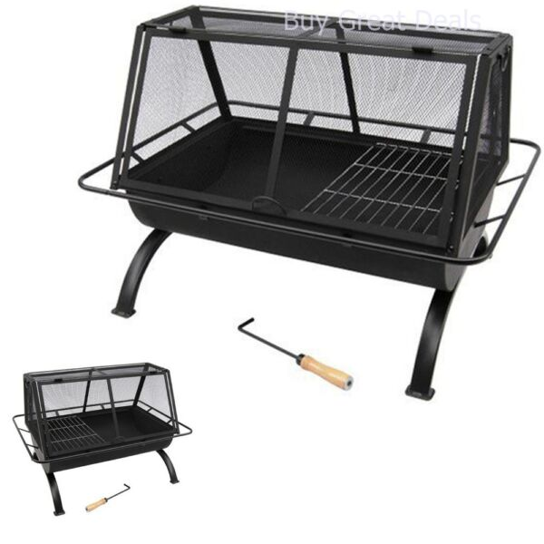 Landmann USA Northwoods Portable Outdoor Fire Pit Fireplace + Grate Ash 28305