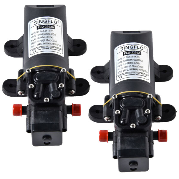 2 Pack SINGFLO Automatic 12V 1 GPM 80 PSI Water Pump f Boat RV 4 Year Warranty $49.99