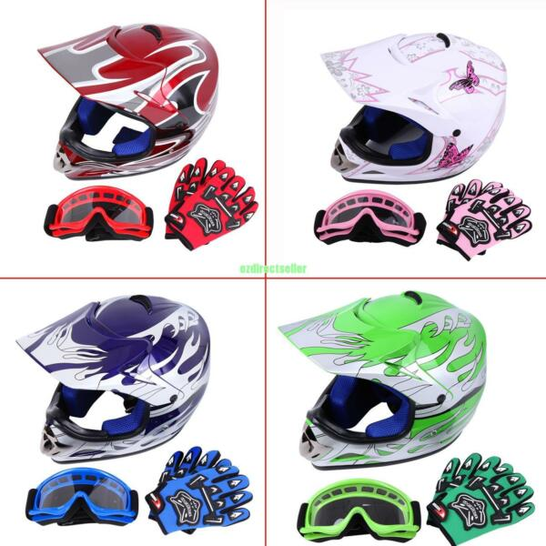 DOT Youth Dirt Bike ATV Motocross Helmet Goggles With Gloves 4 Colors 3 Sizes