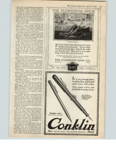 1922 Paper Ad Florsheim Shoes The Parkway Conklin Pen and Pencil