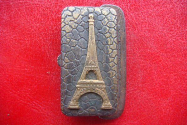 RARE ANTIQUE FRANCE PARIS BRASS TOUR EIFFEL SMALL TRINKET OT PILL BOX