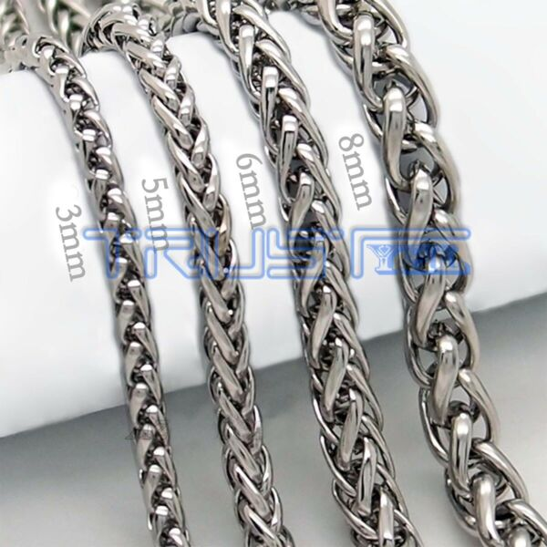 20 30#x27;#x27; MENS Stainless Steel 3 5 6 8 mm Silver Tone Cuban Curb Chain Necklace