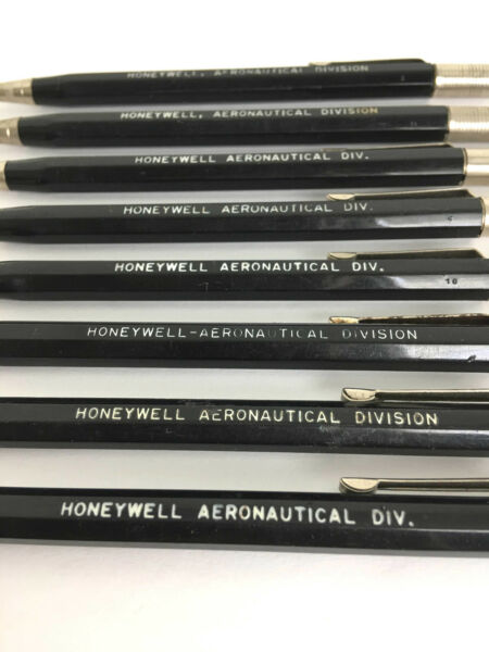 Eight (8) Vintage Mechanical Pencils Durolite Honeywell Aeronautical Div Adverti