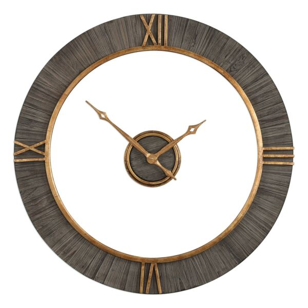 Mid Century Modern Open Wood Wall Clock  Gold Floating 39