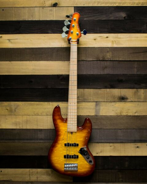Allen Eden Guitars Disciple 5 String Electric Bass Quilted Maple Burst with Case