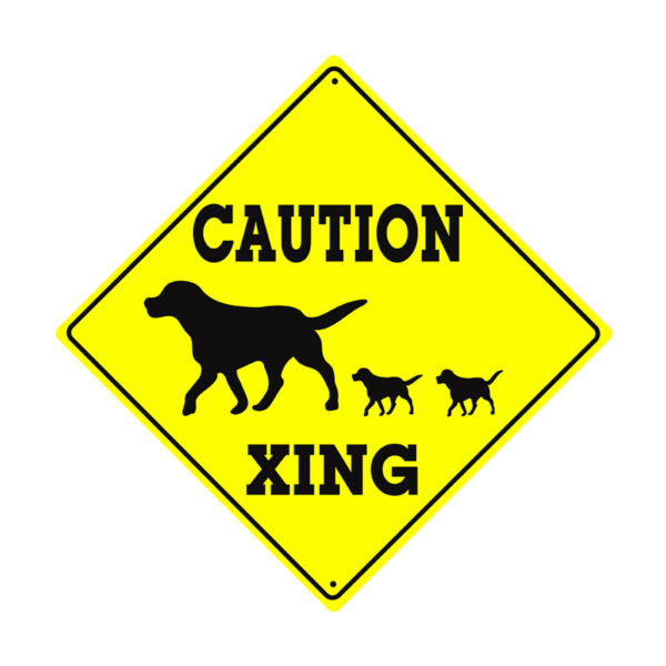 Caution Xing With Dog Puppies Crossing Animal Notice Novelty Aluminum Metal Sign $14.99