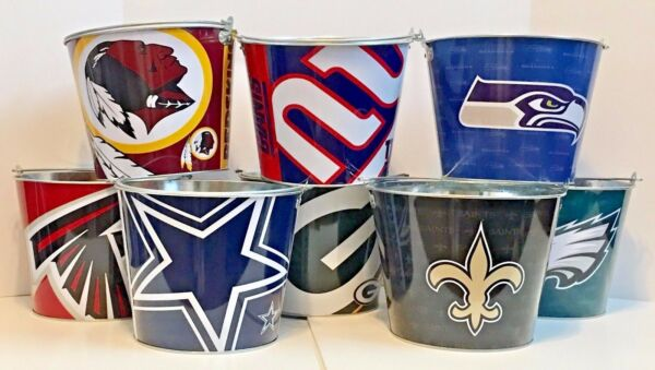 NFL Aluminum Beer Bucket 5 QT Drink Party Ice Metal Pail - Choose Your Team