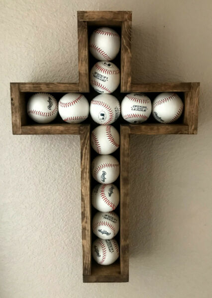 Large Hand-crafted Wooden Shadow Box Cross for Baseball's Worn Navy