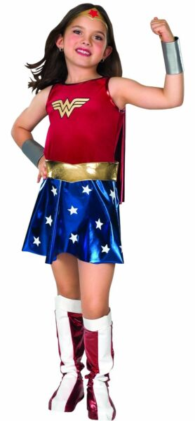 WONDER WOMAN Girls Deluxe Costume w Cape Kids Child Youth Size SML