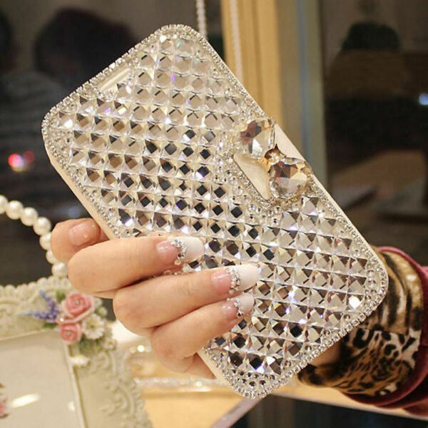 Lady Bling 3D Diamond Leather Wallet Flip Stand Case Cover For iPhone Samsung