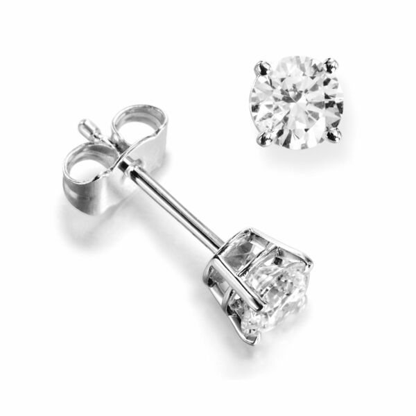 I1HI Gold Platinum Natural Round Diamond Stud Earrings for Women (0.10-1.00CT)