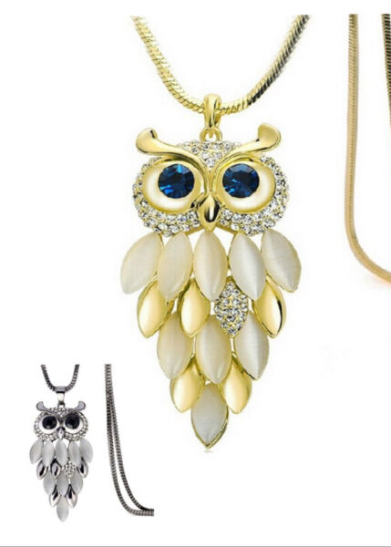 Cute Sweater Chain Women Fashion Crystal Rhinestone Owl Pendant Necklace Gift