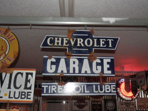 Old antique style vintage look Chevy dealer service garage sign large 3 piece