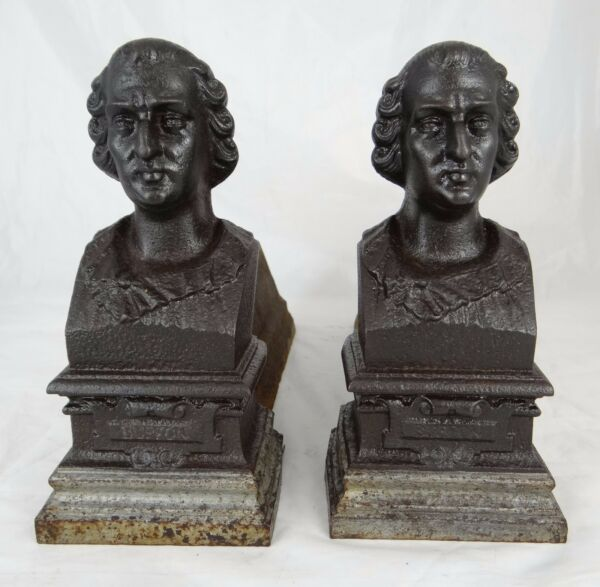 Antique French Cast Iron Fireplace Andirons Firedogs - Count Buffon