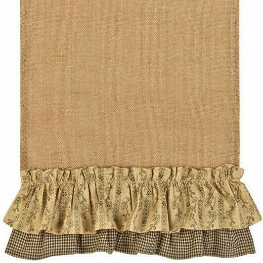 36quot; Burlap Runner with Black Check amp; Floral Ruffle