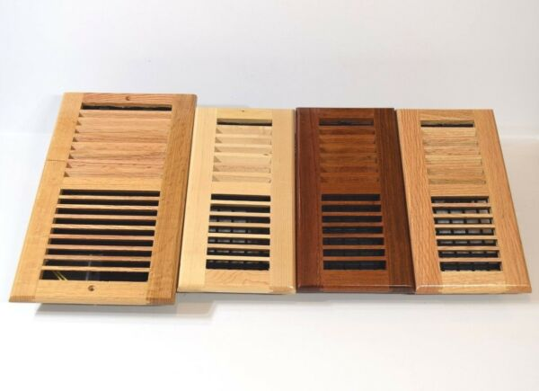 Decor-Grates-Floor-Register-Solid Wood-Natural-Air-Vent-Louvered4x10 4x12 4x14