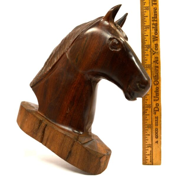 Vintage CARVED WOODEN HORSE HEAD BUST Lignum Vitae? 7quot; Dense Heavy SOLID WOOD