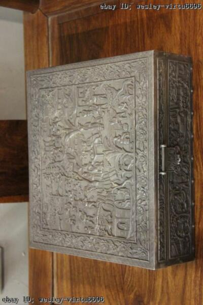 Old Vintage Handmade carve engraved Pure Silver Jewellery Box jewel case Box
